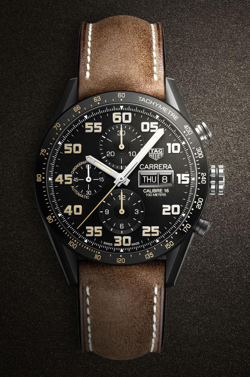 TAG Heuer: Carrera Calibre 16 Day-Date Chronograph Black Titanium