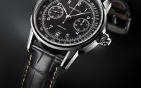 Longines: The Longines Column-Wheel Single Push-Piece Chronograph in Schwarz